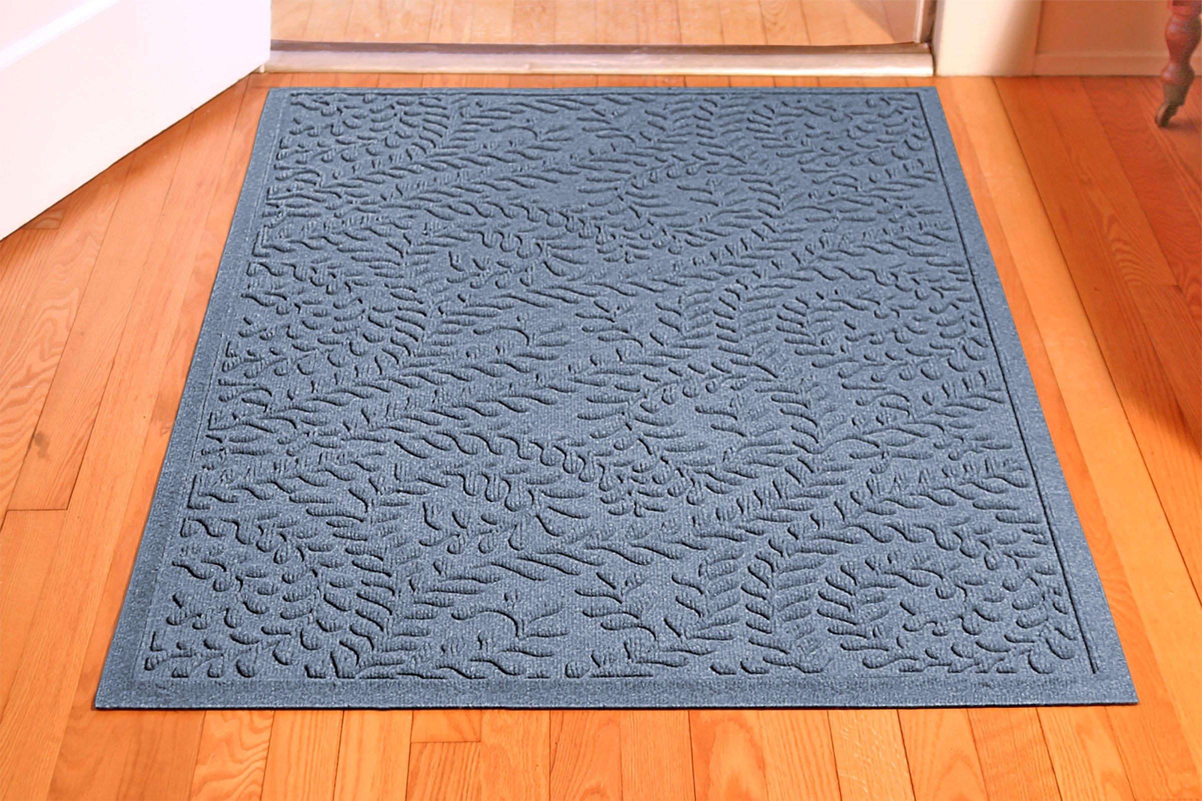Bungalow Flooring Waterhog Indoor/Outdoor Doormat, 3' x 5', Skid Resistant, Easy to Clean, Catches Water and Debris, Boxwood Collection, Bluestone by Bungalow Flooring (Image #3)