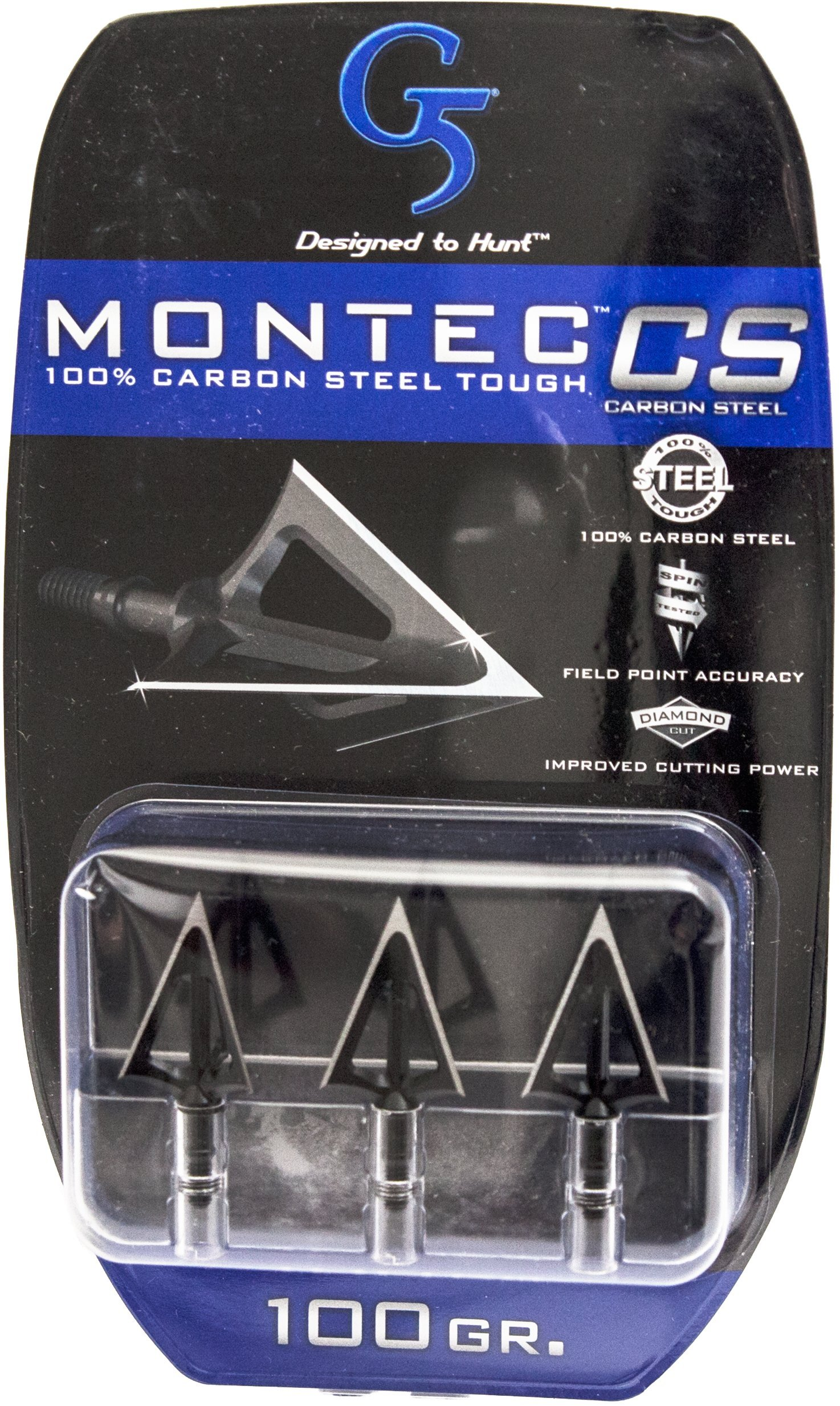 G5 Outdoors Montec 100 Grain Carbon Steel Premium Broadheads. Simple to Use, High Performance Broadhead,3 Pack by G5 Outdoors (Image #2)