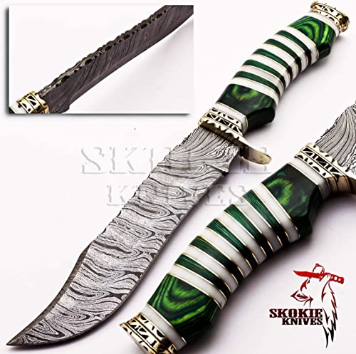 Handmade Damascus Steel Hunting Knife – Original Camel Bone Handle with Combination of Green Pakka Wood and Brass Spacer – Handmade Damascus Steel Knives