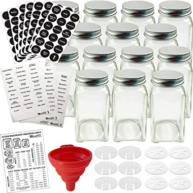 Talented Kitchen 14 Glass Spice Jars w/2 Types of Preprinted Spice Labels. Commercial Grade, Complete Set: 14 Square Empty Jars 4oz, Pour/Sift & Coarse Shakers, Airtight Cap, Chalkboard & Clear Label