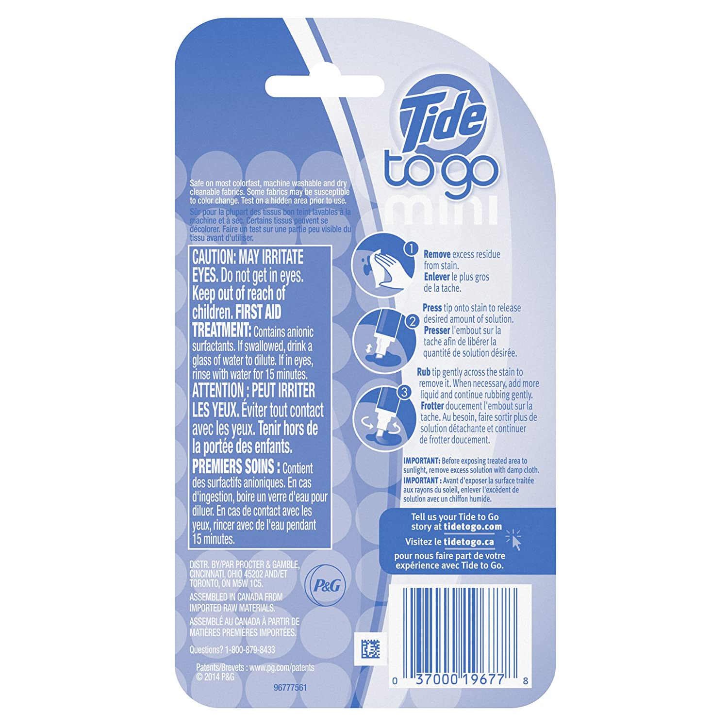 Tide To Go Mini Instant Stain Remover 2 Count Pack Of Sunlight Refill 800 Ml 6 Health Personal Care