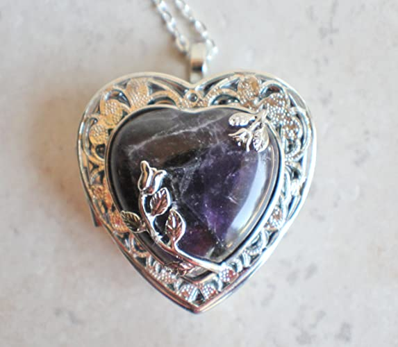 Amazon amethyst quartz crystal heart music box locket handmade amethyst quartz crystal heart music box locket aloadofball Gallery