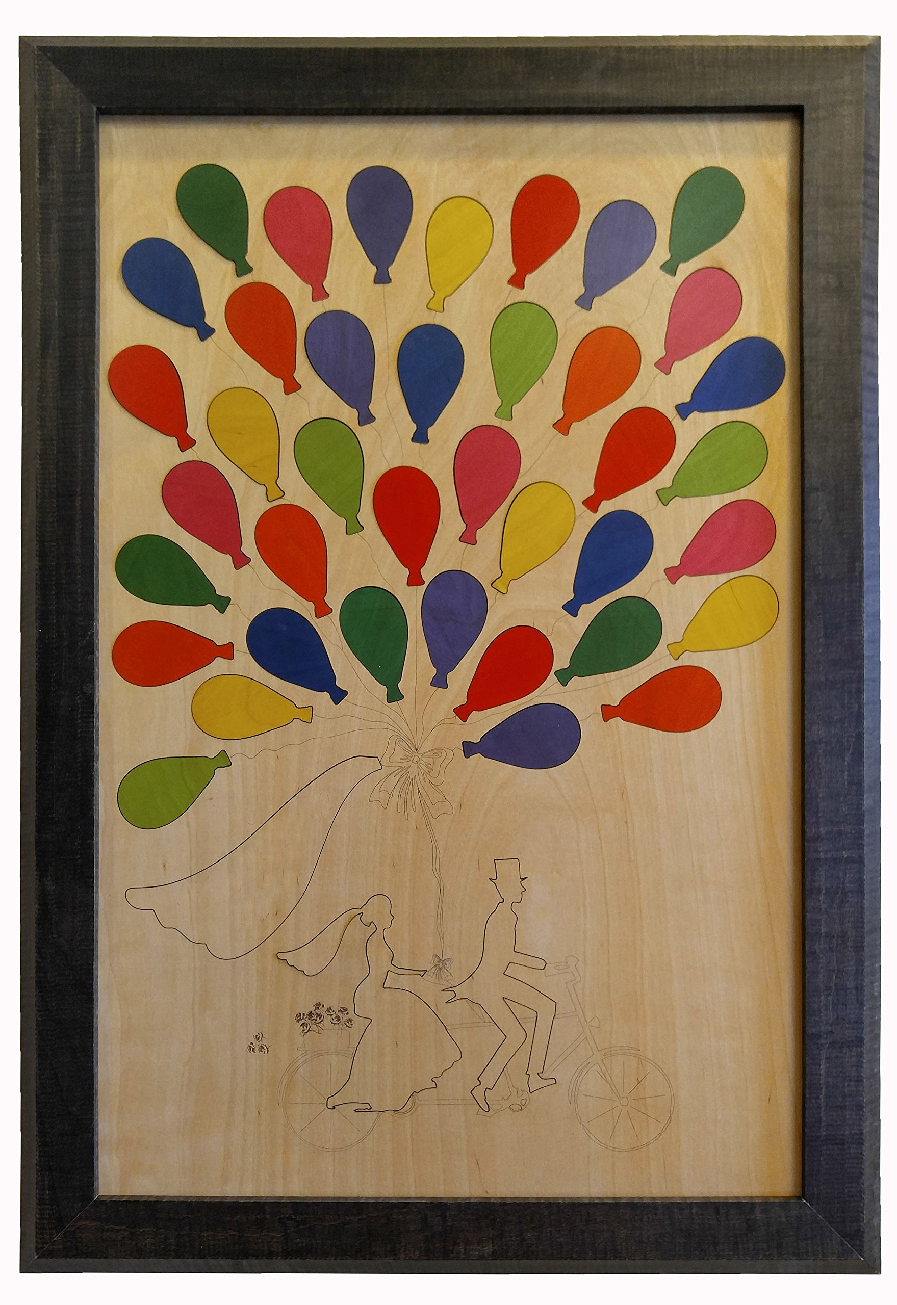 Wedding Guest Book Alternative Wood Puzzle ''Bicycle for Two'' Standard 39 Balloon Pieces 18''x27''