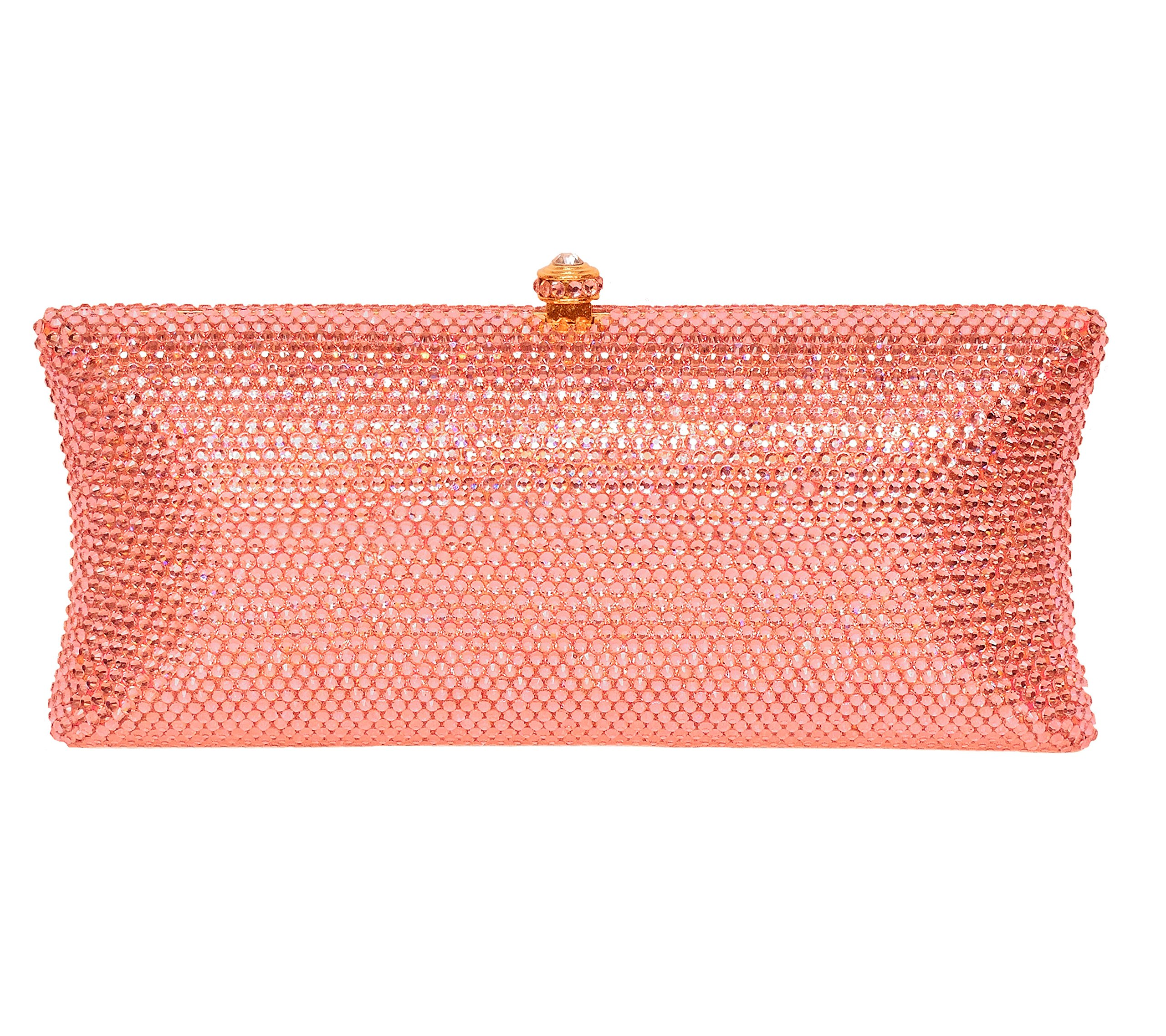 Crystal Bridal Clutch Holiday Party Evening Bag & Compact Mirror Gift Set Rose Gold Blush