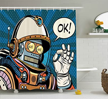 Ambesonne Modern Decor Shower Curtain Futuristic Comics Super Heros Like Robot In A Spacesuit With