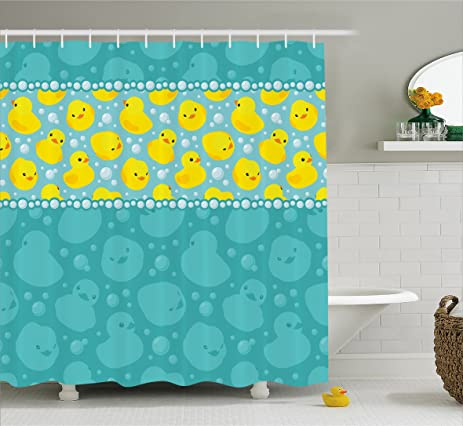 Amazon.com: Rubber Duck Shower Curtain Set by Ambesonne, Cute Yellow on navy and coral bathroom, teal accents in bathroom, teal orange and white, teal and white stripes, teal and grey color scheme, teal restroom, blue and white master bathroom, ugly bathroom, teal blue bathroom, teal and brown curtains, teal kitchen walls with white cabinets, teal bath, teal and gray chevron shower curtain, teal bathroom ideas, teal bathroom color, vintage mint green bathroom, teal and beige living room, teal and gold wedding decor, teal and coral wedding tables, gold bathroom,