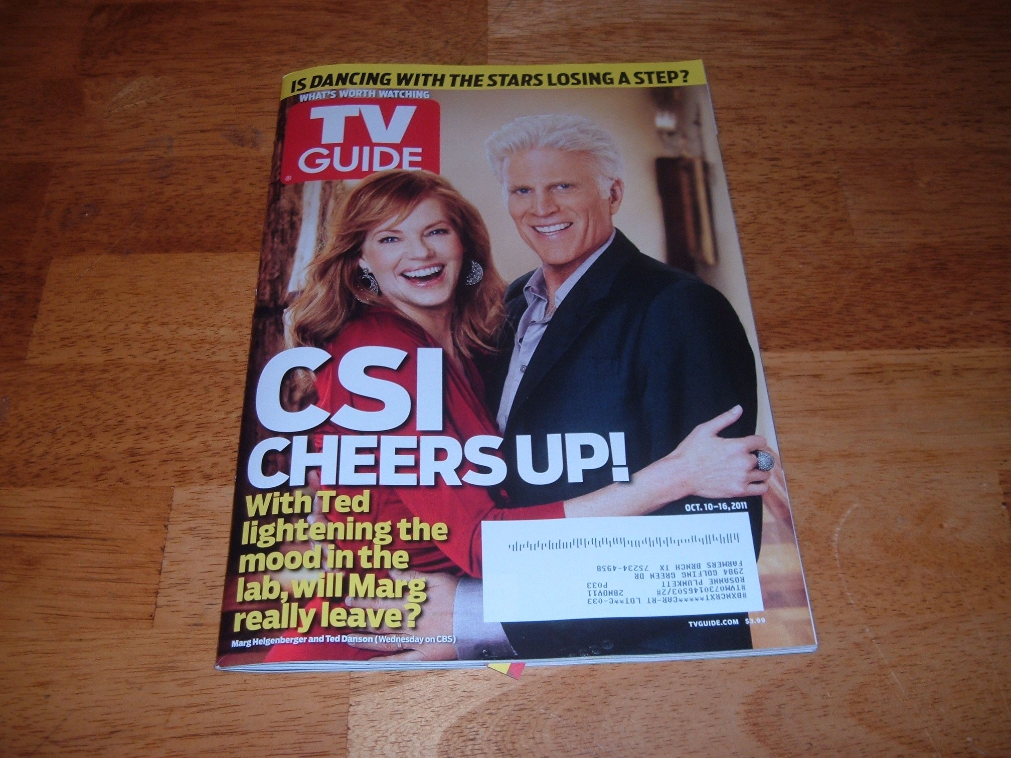 TV Guide magazine, October 10-16, 2011-Ted Danson Joins CSI-CSI Cheers Up! pdf