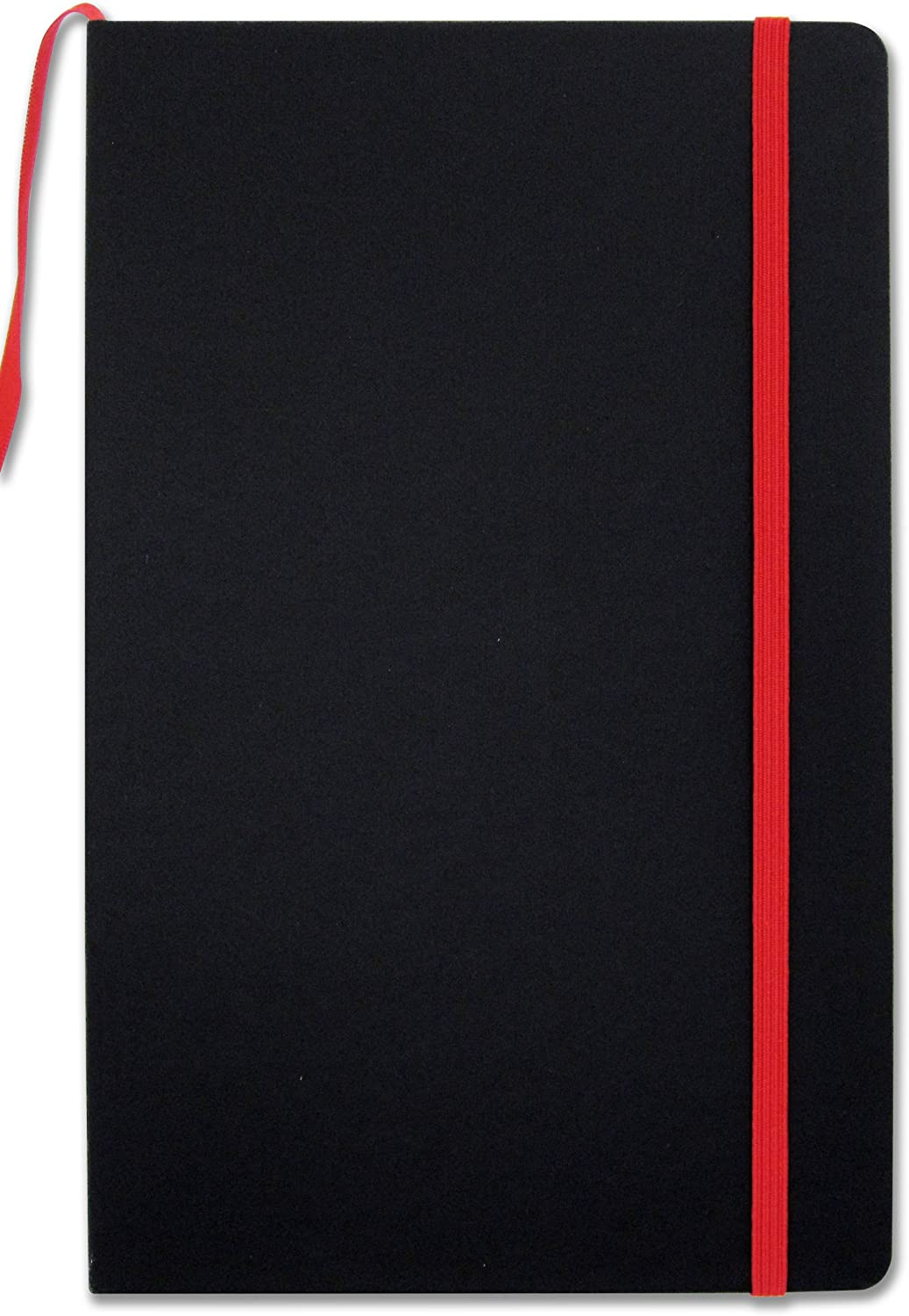 """BookFactory Journal/Writing Notebook/Black Blank Diary/Lined Pages Book - 192 Pages, 5.25"""" x 8.27, Banded Journal, Hardbound, Bookmark (JOU-192-CCS-K)"""