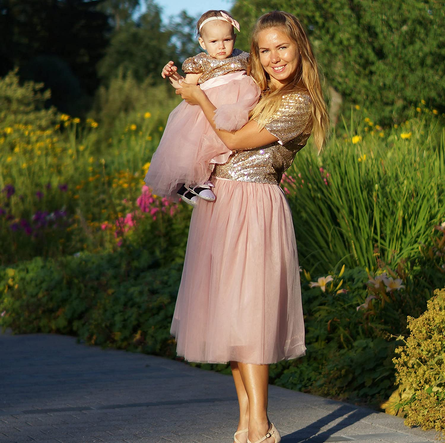 97f92ba7f1 Amazon.com: Gold mother daughter matching tutu dress, sequin dresses for Mom  and baby, girls party dress, Mommy and Me sequin dresses Matching outfit:  ...