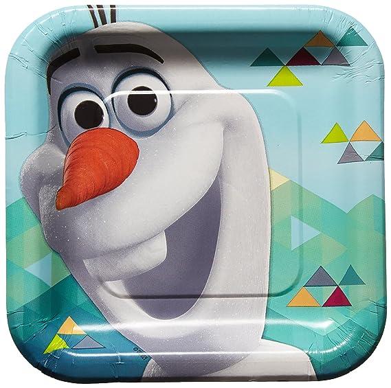 Amazon.com: Amscan Disney Olaf Fiesta de cumpleaños platos ...