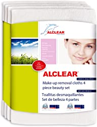 ALCLEAR 200803 Make-Up Removal Cloths with soft fibers, White, 4 pieces,