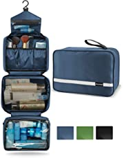 Maxchange Travel Toiletry Bag with 6.8L Large Capacity, Hanging Toiletry Bag with 4 Compartments for Travel, Compressible Hangable and Portable Waterproof Travel Kit for Men and Women, Travel Bathroom Organizer (Navy)