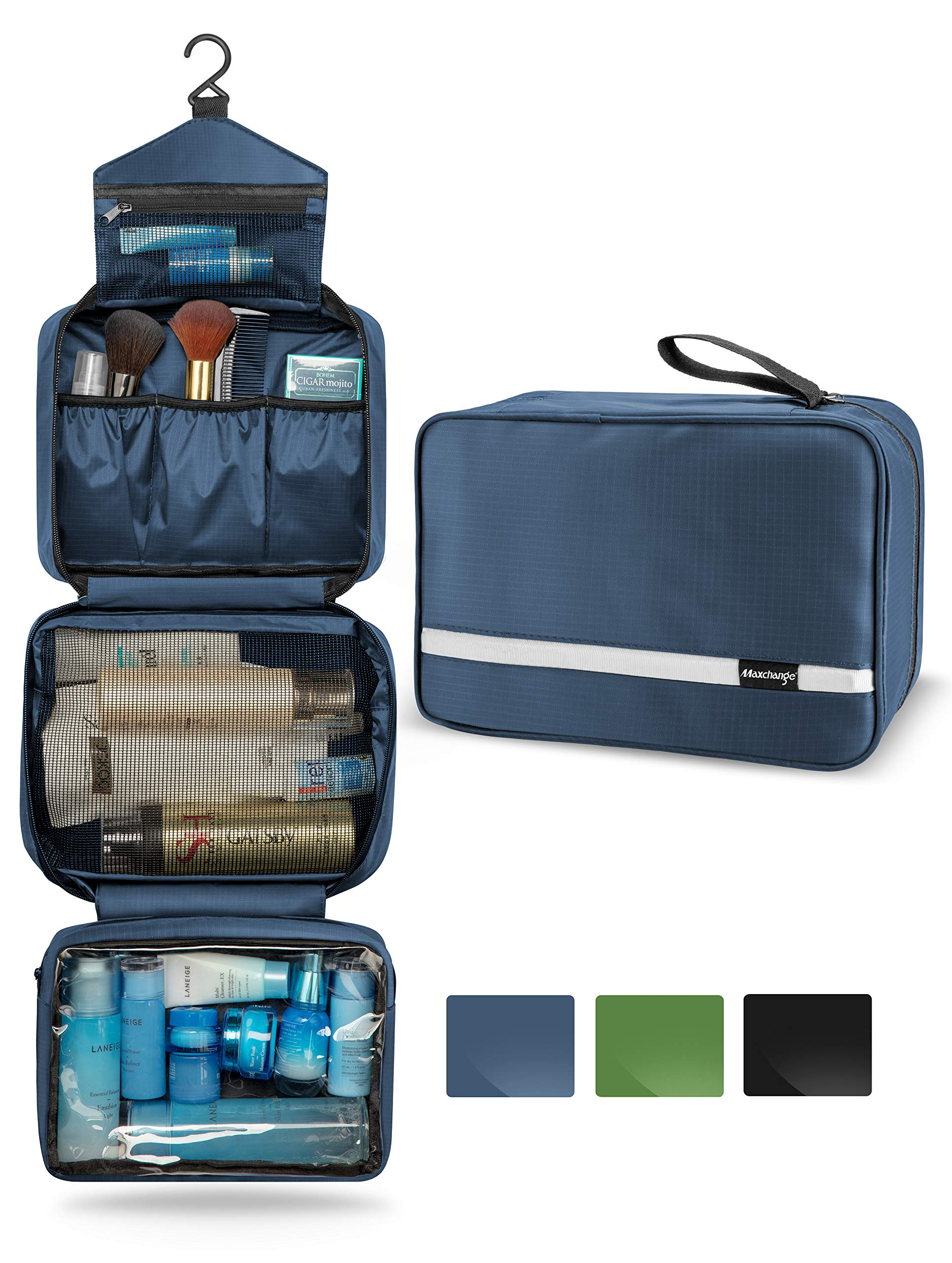 c87a99c1ae20 Hanging Toiletry Bag, Maxchange Travel Toiletry Bag | Foldable Dopp Kit  with Large Capacity for Men | 4 Layers Portable Waterproof Makeup Bag for  ...
