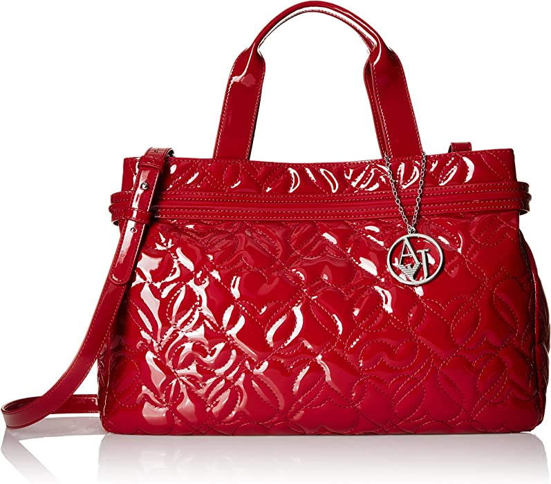0a9125273 Armani Jeans Quilted Heart Design Eco Patent Leather East West Tote with  Magnetic Closure, Bordeaux
