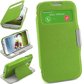 MoEx Bolso OneFlow para Funda Samsung Galaxy S4 Cubierta con Ventana | Estuche Flip Case Funda móvil Plegable | Bolso móvil Funda Protectora Accesorios móvil protección paragolpes en Lime-Green: Amazon.es: Electrónica