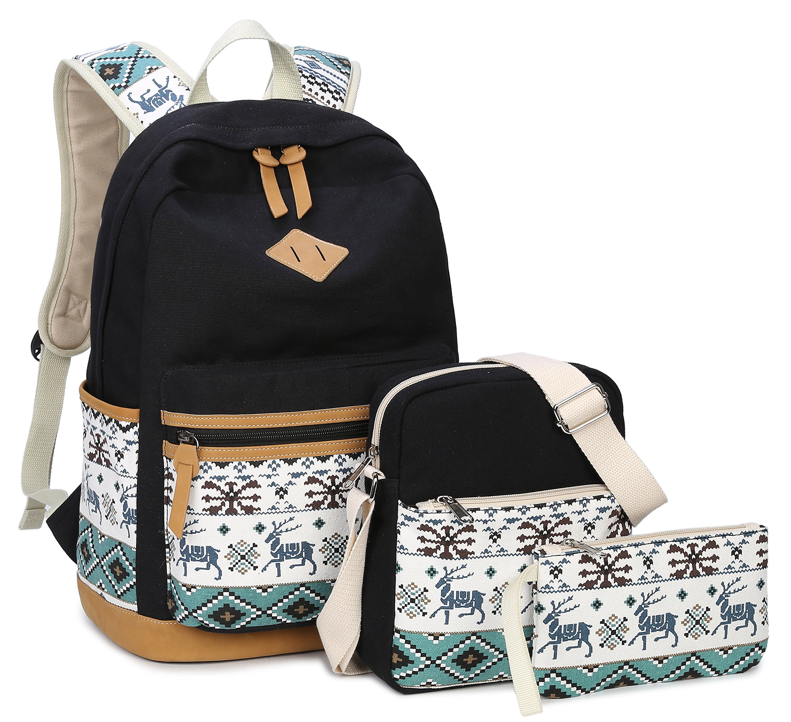 "Canvas School Backpack,Gazigo 3 in 1 Cute Animal 14"" Laptop Bookbags for Girls (8818 Black)"