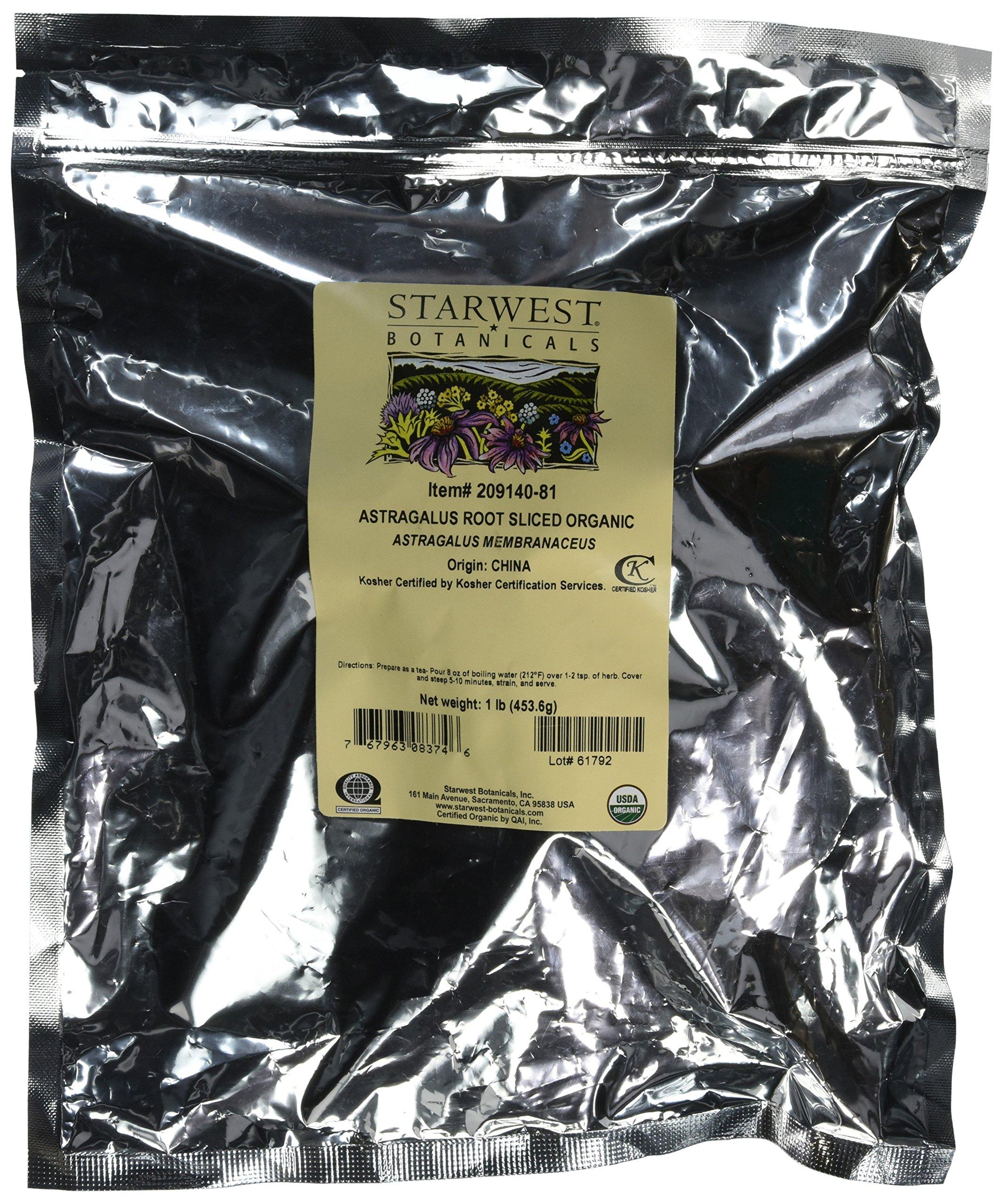 Starwest Botanicals Organic Astragalus Root Sliced, 1 Pound