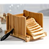 """Kenley Bamboo Bread Slicer for Homemade Bread & Loaf Cakes - Compact, Adjustable, Foldable Slice Box Cutter with Cutting Board and Knife Slicing Guide - Thick & Thin Slices 1/3"""", 3/8"""" and 1/2"""""""