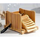 Kenley Trancheuse à Pain - Tranche-Pain en Bambou avec Guide de Decoupe - Slicer Pliable pour Sandwich, Gteau au Pain ou Toast