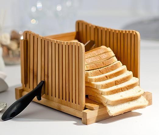 Kenley Rebanadora de Pan - Plegable Cortadora de Pan de Bambú ...
