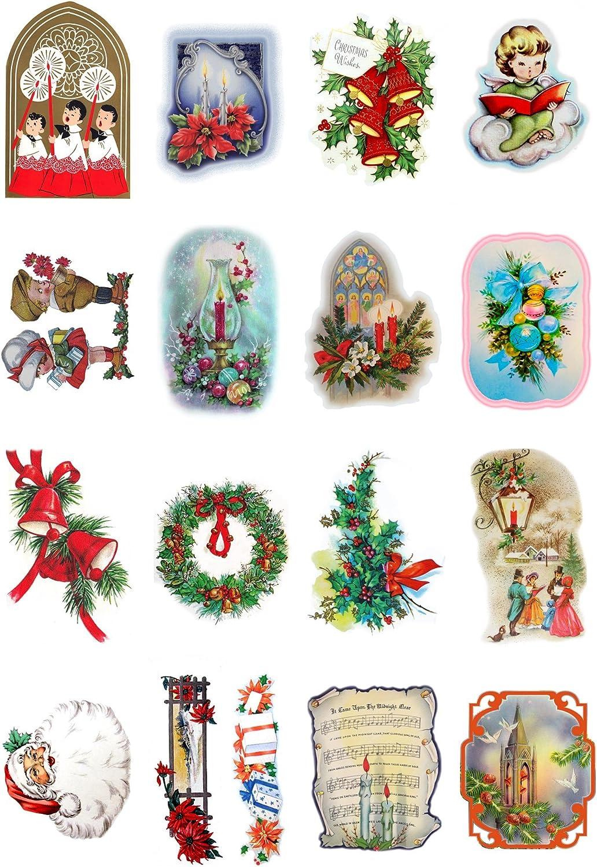 Vintage Christmas Santa Transport Gift FLONZ Vintage Ephemera Decoupage Paper Pack 20 Sheets 10x15cm
