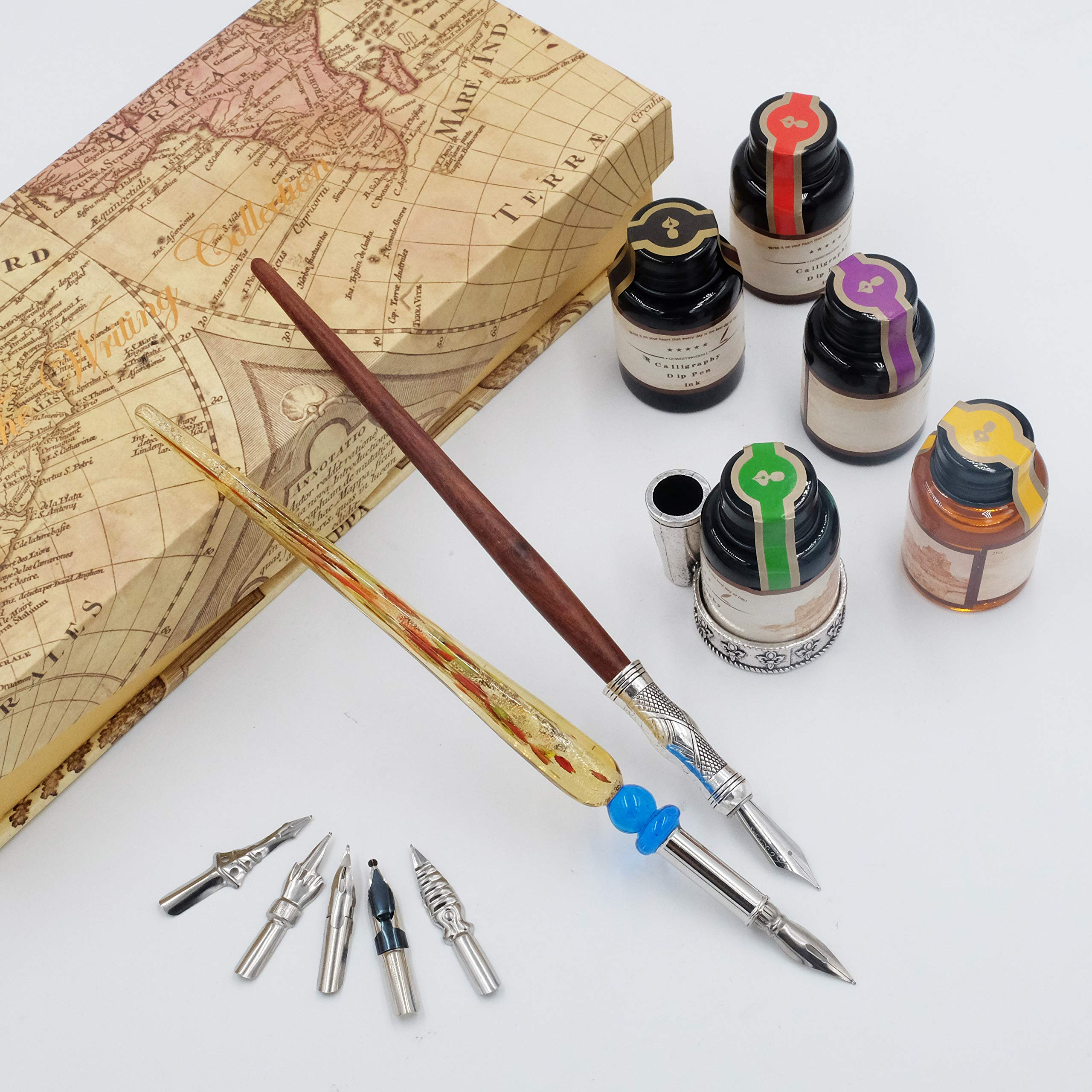 GC QUILL Calligraphy Pen Set-5 Bottle Ink-100% Hand Craft-Wood Pen Stem- Glass Pen Stem-Dip Pen with 7 Nibs&1 Pen Holder by GC QUILL (Image #5)