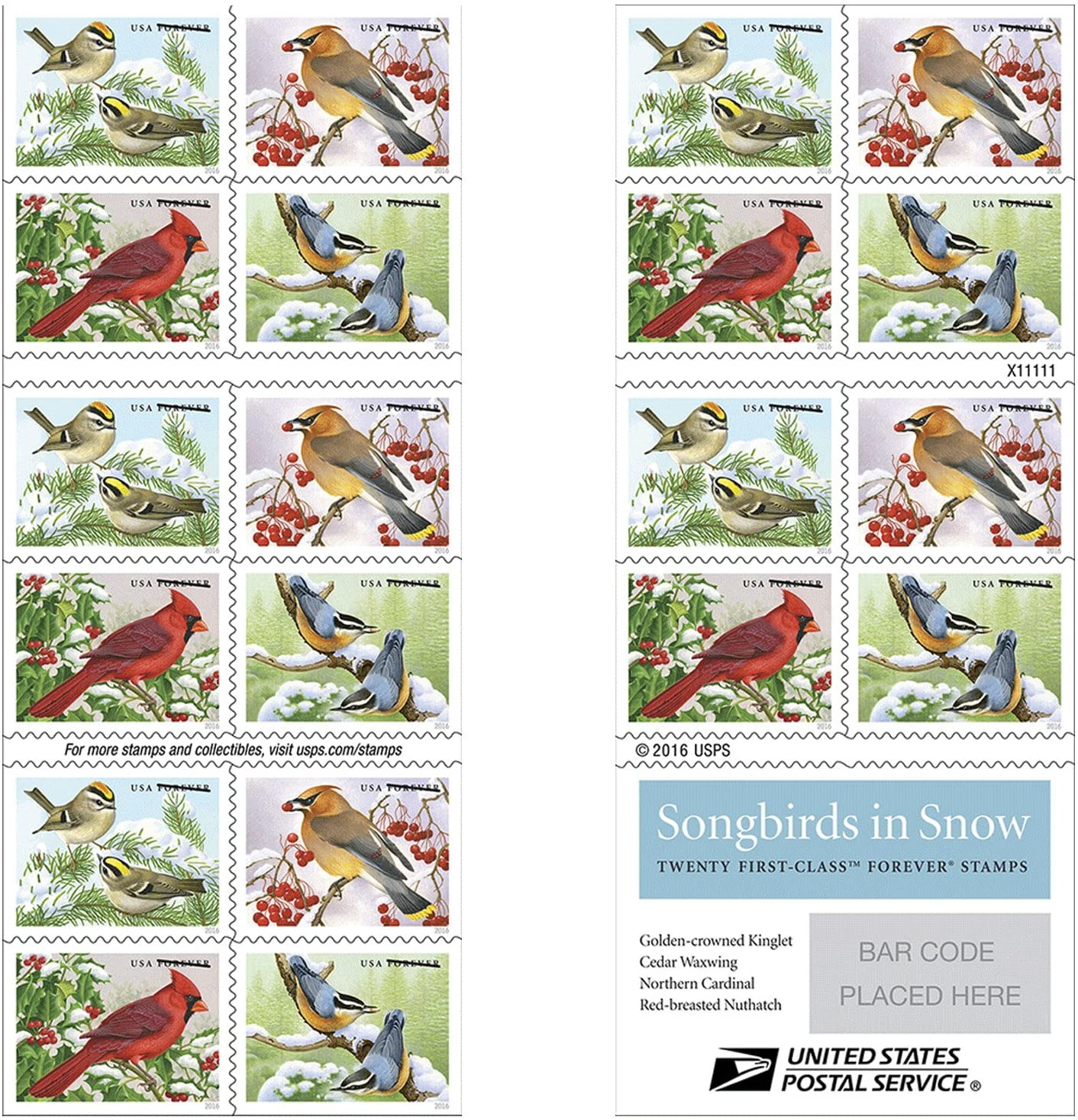 Songbirds in Snow Forever First Class USPS Postage Stamps (20 Stamps)
