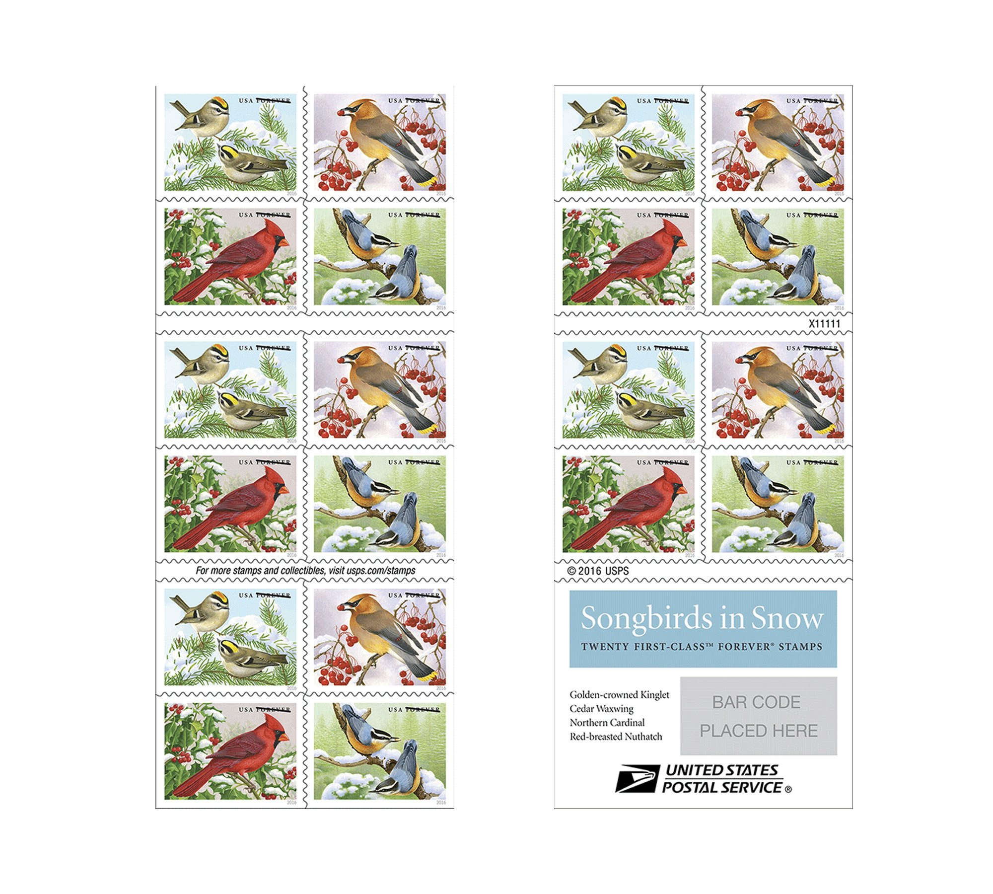 Songbirds in Snow Forever First Class USPS Postage Stamps brighten cold winter days (1 sheet of 20 Stamps)
