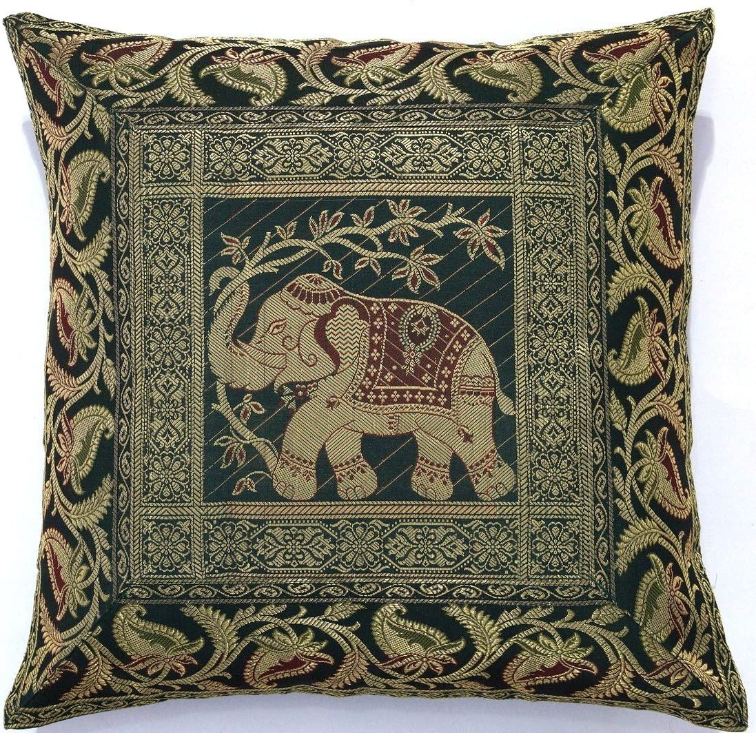 ANJANIYA 4/Banarsi Soie Housse de Coussin Style Indien Elephant Soie Taie doreiller D/écoratif Canap/é Housse de Coussin /à Fermeture /Éclair 40,6/x 40,6/cm 16x16 inches Silk Elephant