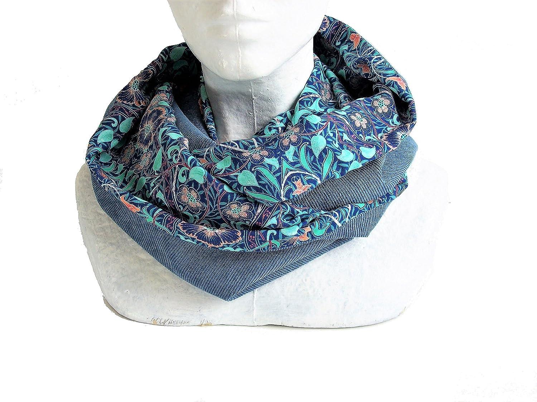 snood femme bleu imprimé fleurs persanes , echarpe infinie en velours et viscose fleuri , tour de cou reversible , echarpe tube