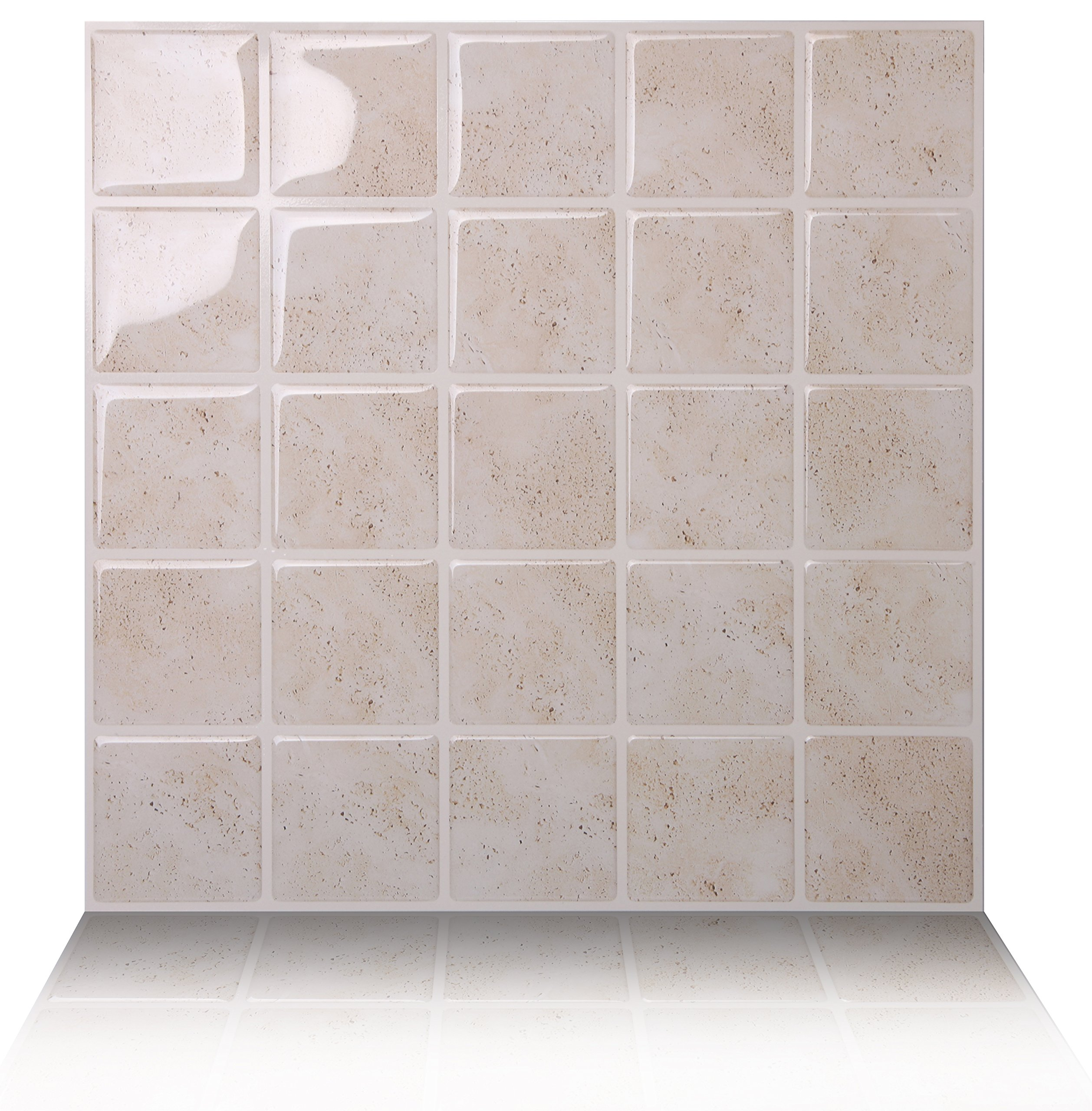 Tic Tac Tiles 5-Sheet Peel and Stick Self Adhesive Removable Stick On Kitchen Backsplash Bathroom 3D Wall Sticker Wallpaper Tiles in Marmo Travertine by Tic Tac Tiles