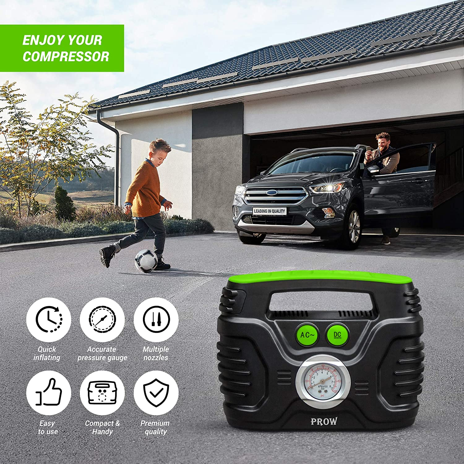 Basketball and More. Motorcycle AC 110V DC 12V Upscale Home Prow Portable Air Compressor Tire Inflator AC//DC Electric Pump for Car with Analog Pressure gauge Bike Air pump for Car Tires