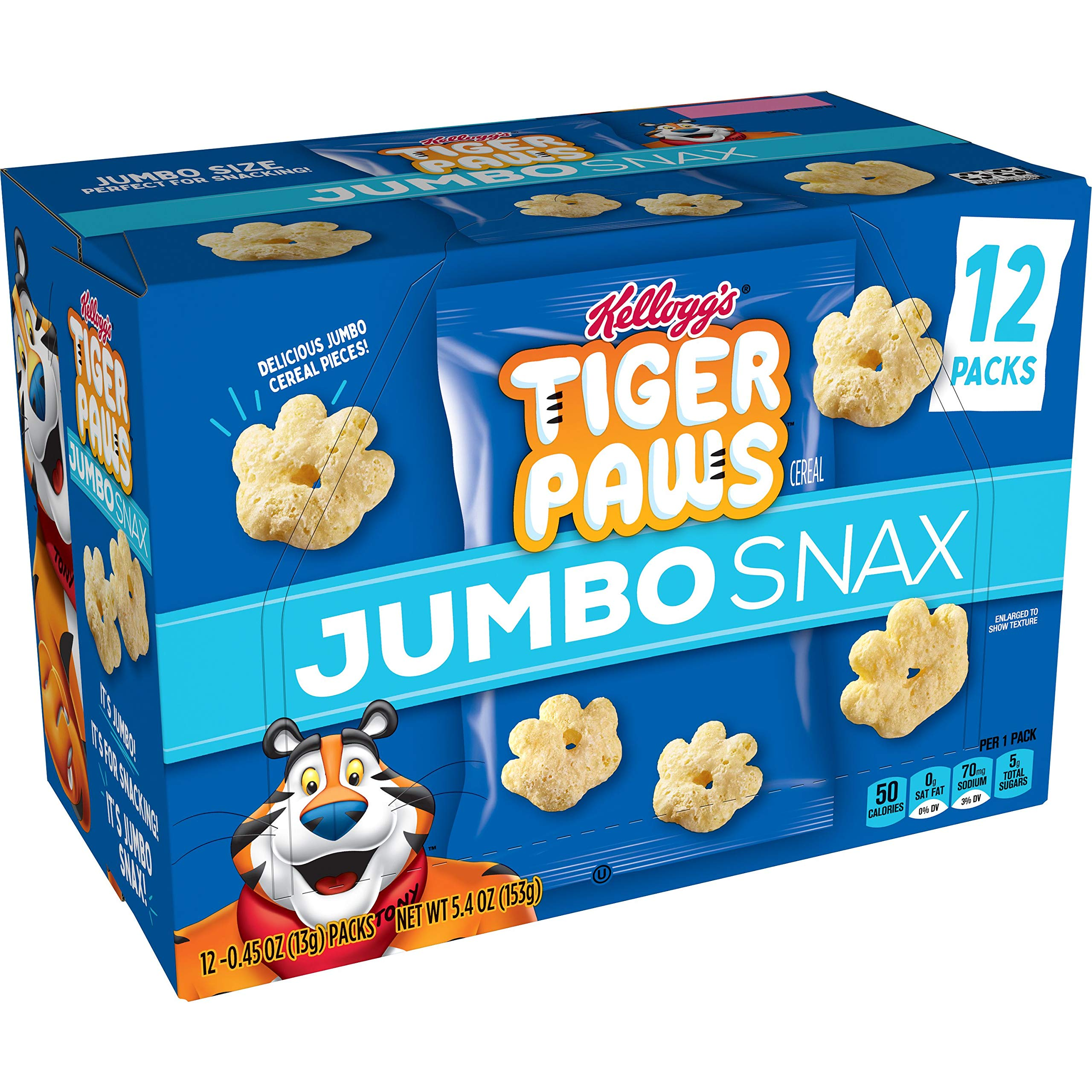 Kellogg's Tiger Paws Jumbo Snax, Cereal Snacks, Original, On the Go, 12 - .45 oz bags (Pack of 4, 48 count total)