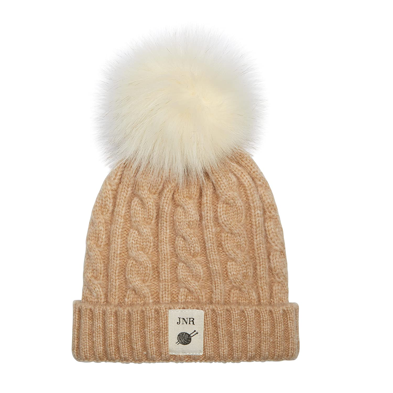 464460915d5 Amazon.com  Aran Traditions Kids Oatmeal Beige Cable Knit Faux Fur Pom Pom  Hat 3-6 Years  Clothing