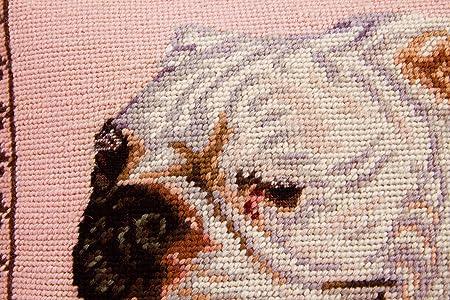 Amazon.com: Almohada de punto de aguja Bulldog de lana ...