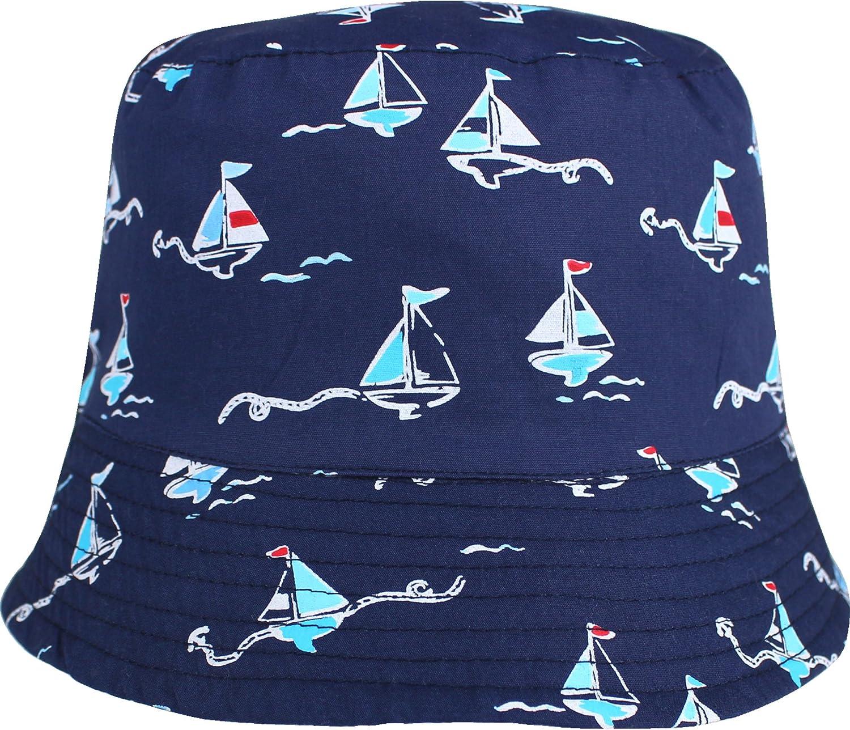 Boys /& Toddlers Navy Blue Nautical Sailing Boat Bucket Sun Hat