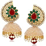 Meenaz Kundan Pearl Jhumki Earrings For Women Ear rings for Girls in Traditional Ethnic Gold Plated J136