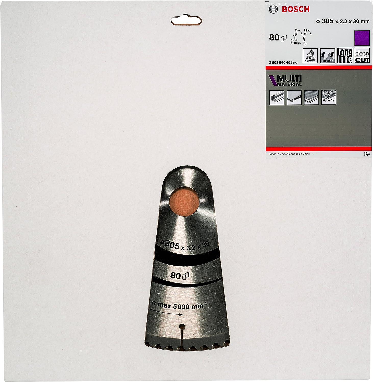 Acero inoxidable Bosch Professional 2 608 640 452 Hoja de sierra circular Multi Material pack de 1 305 x 30 x 3,2 mm 305x30x3.2mm 80