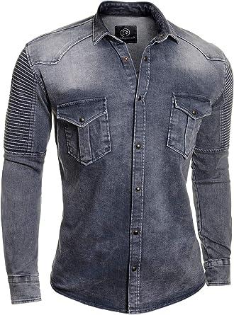 D&R Fashion Camisa Vaquera Hombre Lavado Acanalado Elástico: Amazon.es: Ropa y accesorios