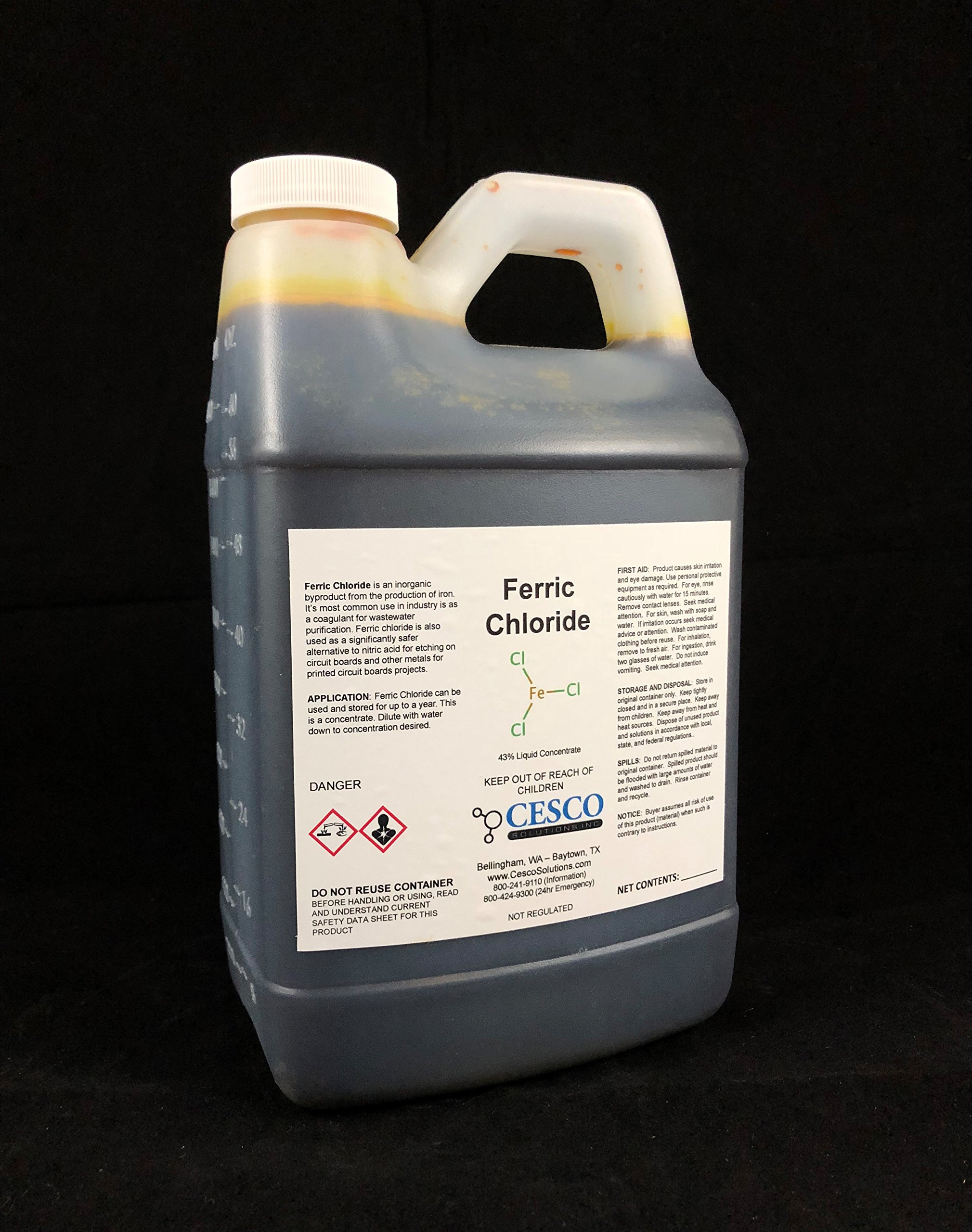 Ferric Chloride 43% Solution Choose Your Size (.5g - 4 gallons) etching solution by Cesco Solutions (.5 gallons)