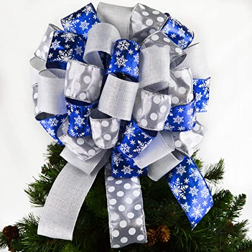 royal blue silver white christmas tree bow topper tree bow large present bow - Blue And Silver Christmas