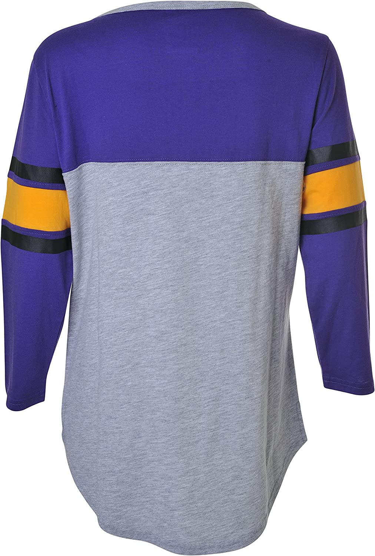 Team Color Small Ultra Game NBA Los Angeles Lakers Womens T-Shirt Raglan Baseball 3//4 Long Sleeve Tee Shirt