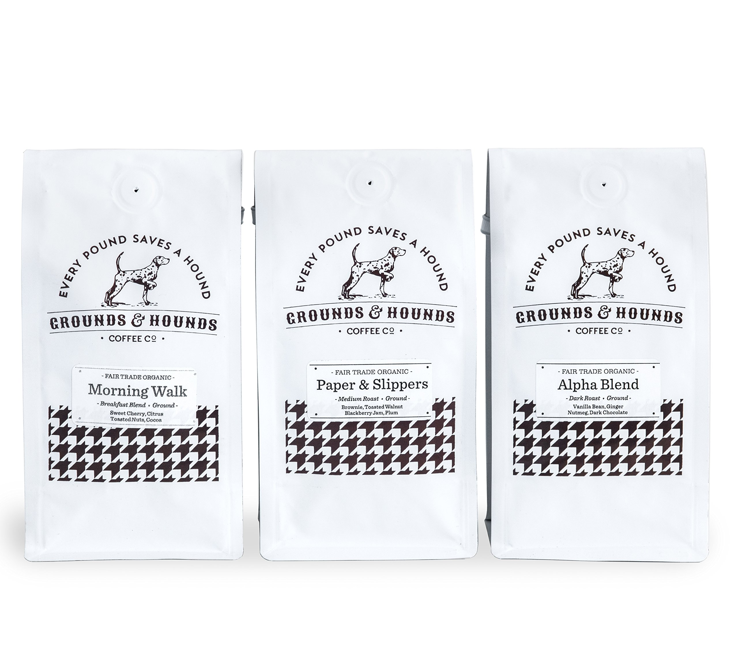 Three Blend Starter Kit - Fair Trade & Organic Ground Coffee by Grounds & Hounds Coffee Company