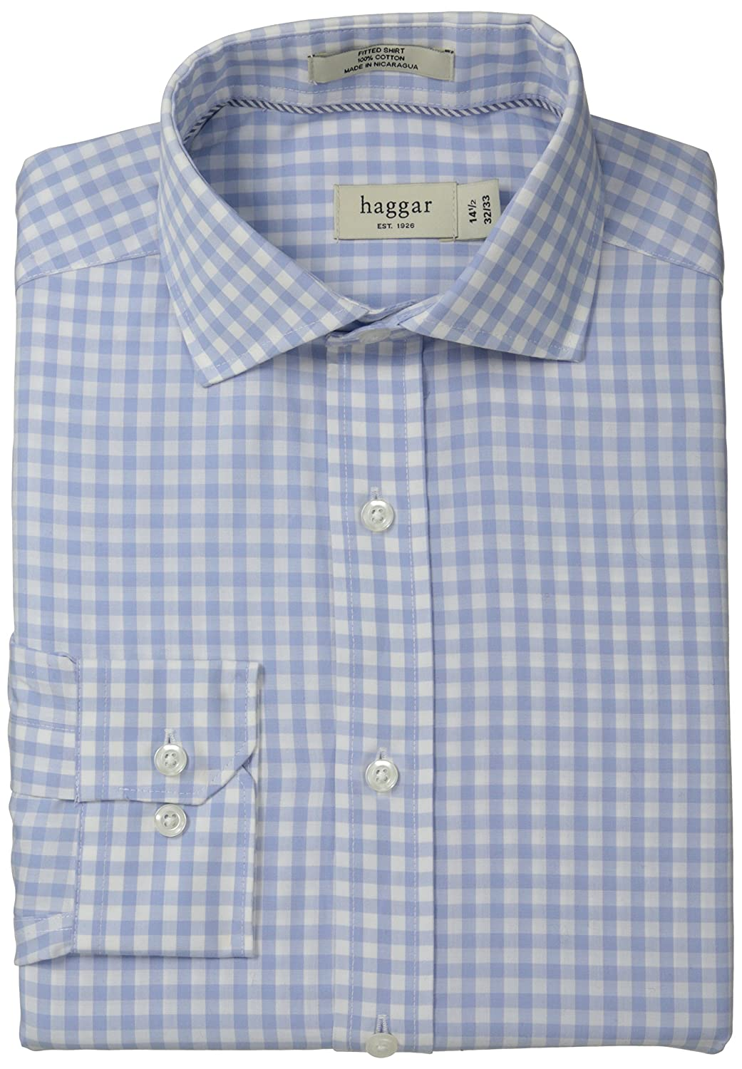 f5fd12e9049 Haggar Men s Gingham Fancy Poplin Long-Sleeve Fitted Shirt  Amazon.ca   Clothing   Accessories