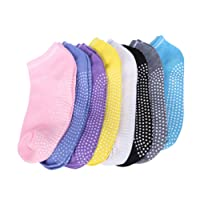HANSHI 8 Pairs Women Lady Girls Yoga Socks Non Slip Dance Barre Pilates Massage Sport Fitness Ankle Socks Grip Exercise Gym Anti-slip Socks With Rubber Dots (HCT11) (Assorted Color)