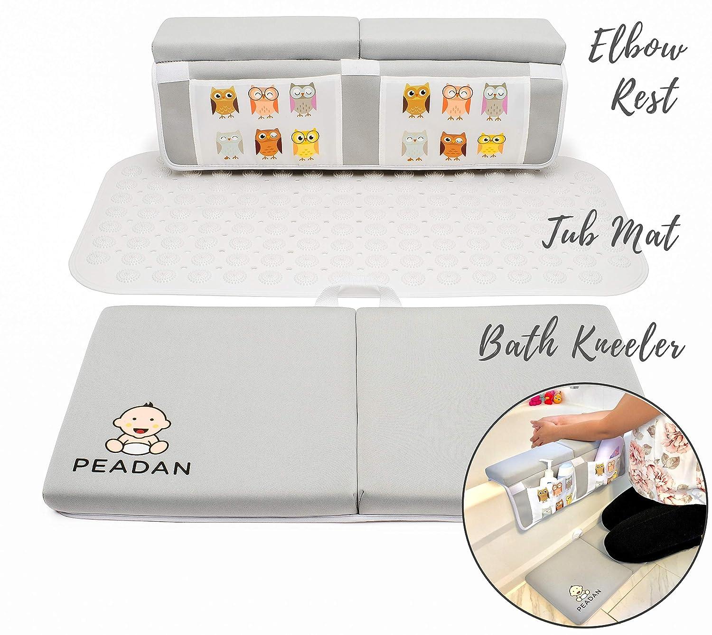 3-Piece Baby Bath Time Essentials Set w/Bath Kneeler, Elbow Rest Toy Storage & Non-Slip Tub Mat, 4 Suction Cups, Fun owl Design w/Large Pockets for Bathing Essentials & Toy Storage