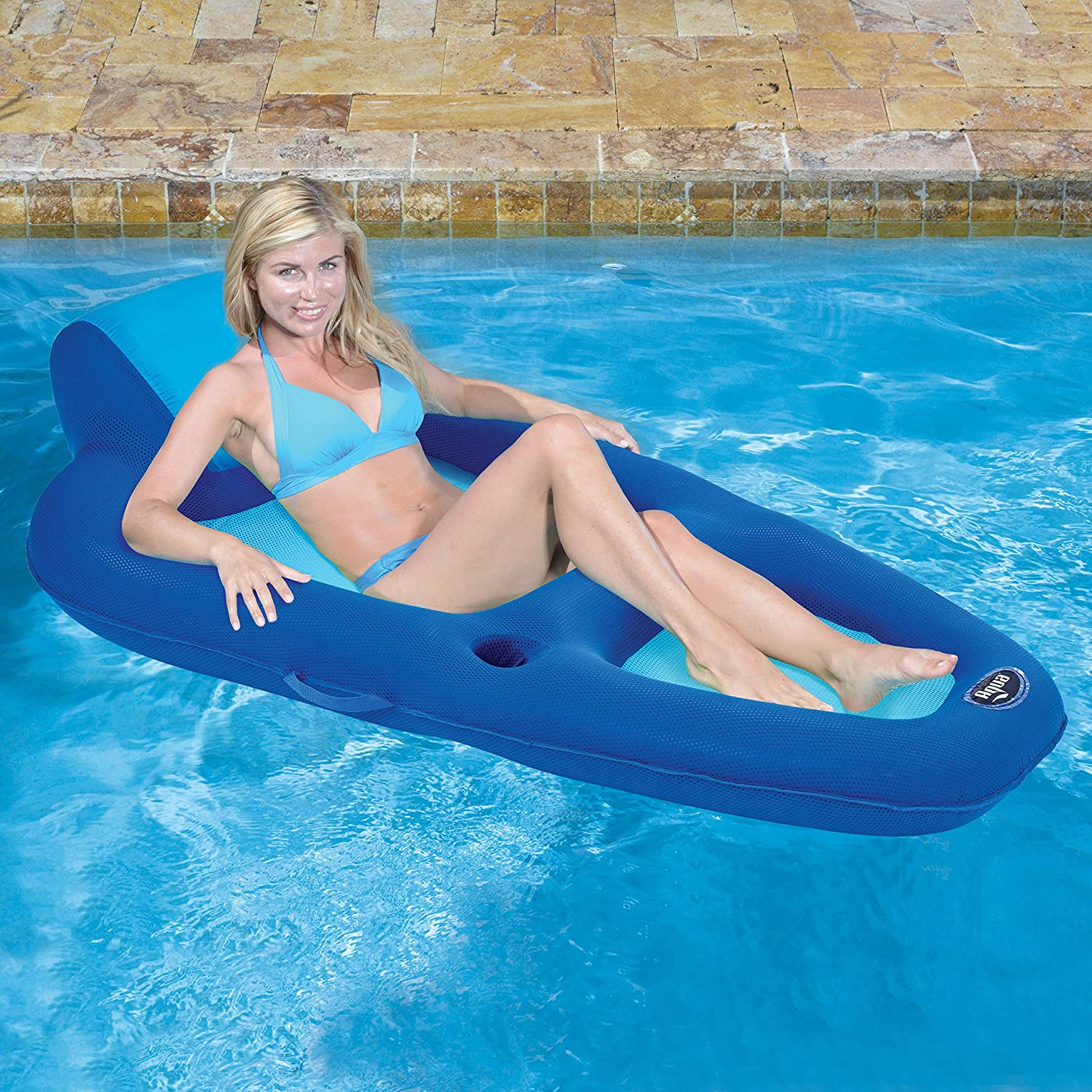Aqua Leisure Fabric Recliner Inflatable Pool Lounge in Blue