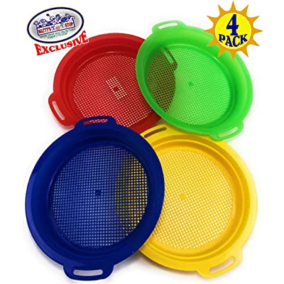 "Matty's Toy Stop Sand Sifter Sieves for Sand & Beach (Red, Blue, Yellow & Green) Complete Gift Set Bundle - 4 Pack (8.75'' x 9.75""): Toys & Games"
