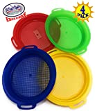 """Matty's Toy Stop Sand Sifter Sieves for Sand & Beach (Red, Blue, Yellow & Green) Complete Gift Set Bundle - 4 Pack (8.75'' x 9.75"""")"""