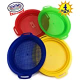 Matty's Toy Stop Sand Sifter Sieves for Sand & Beach (Red, Blue, Yellow & Green) Complete Gift Set Bundle - 4 Pack (8.75'' x